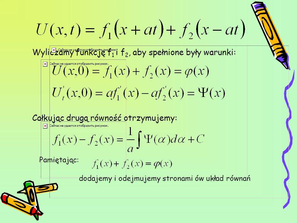Wyliczamy funkcję f1 i f2, aby spełnione były warunki: