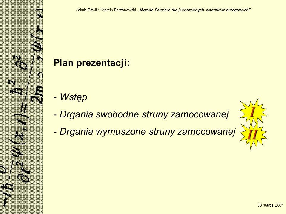 I II Plan prezentacji: Wstęp Drgania swobodne struny zamocowanej