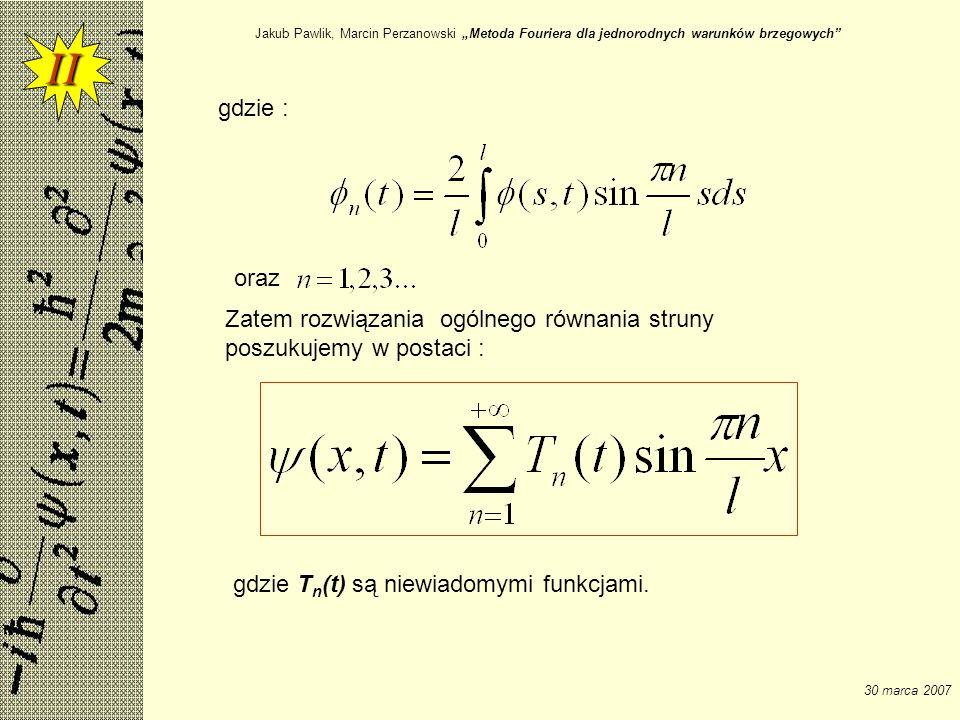 II gdzie : oraz Zatem rozwiązania ogólnego równania struny