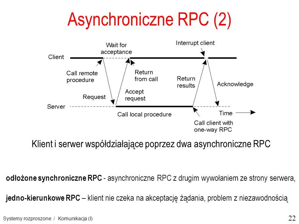 Klient i serwer współdziałające poprzez dwa asynchroniczne RPC