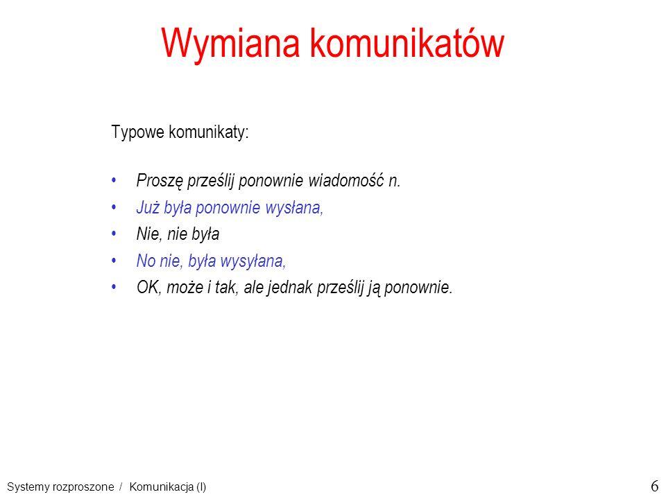 Wymiana komunikatów Typowe komunikaty: