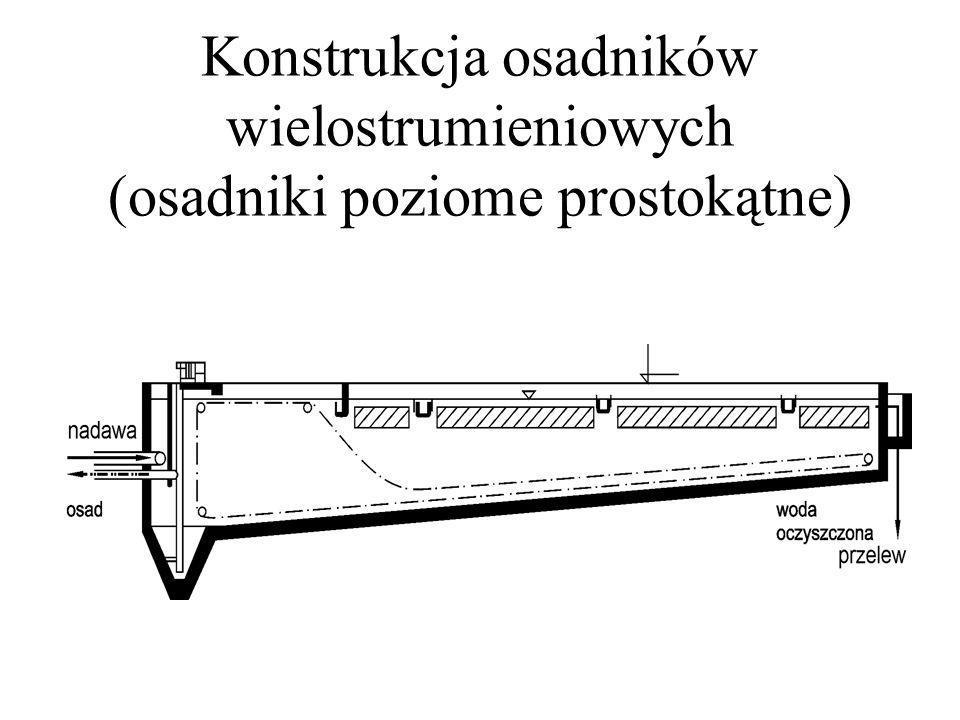 Konstrukcja osadników wielostrumieniowych (osadniki poziome prostokątne)