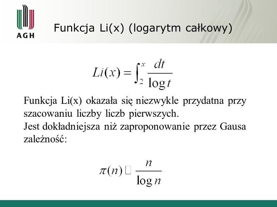 Funkcja Li(x) (logarytm całkowy)