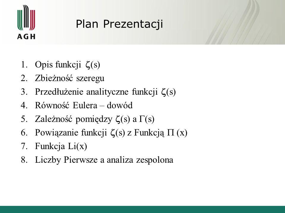 Plan Prezentacji Opis funkcji (s) Zbieżność szeregu