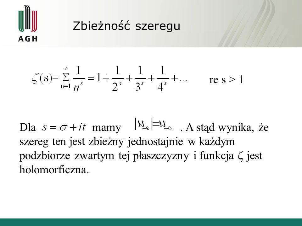 Zbieżność szeregu re s > 1.