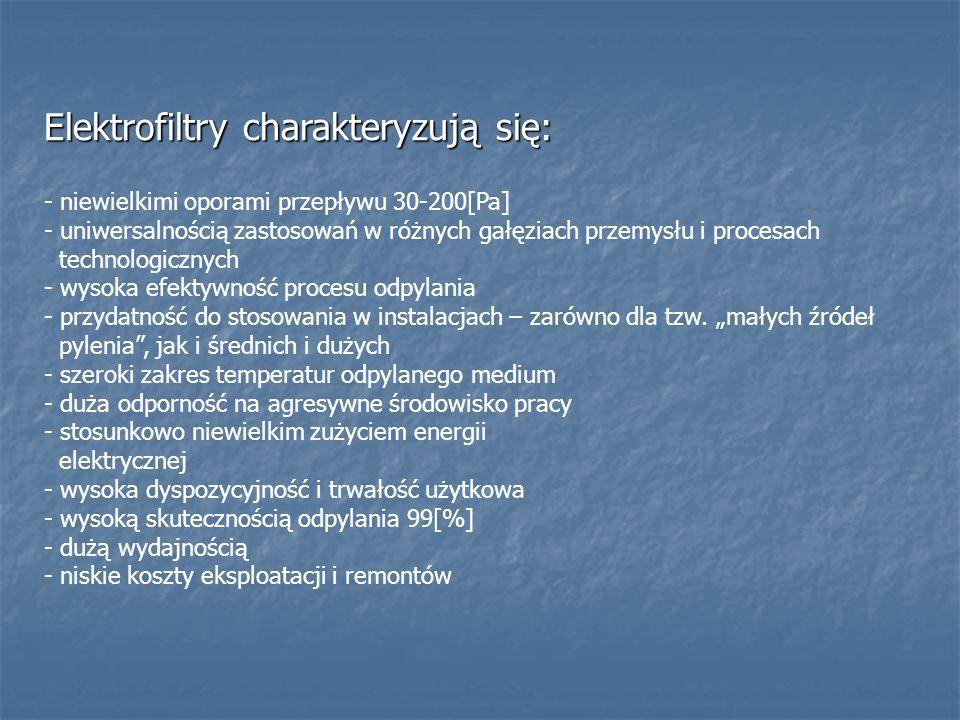 Elektrofiltry charakteryzują się: