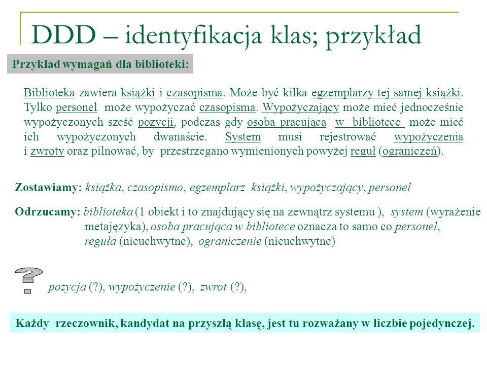DDD – identyfikacja klas; przykład
