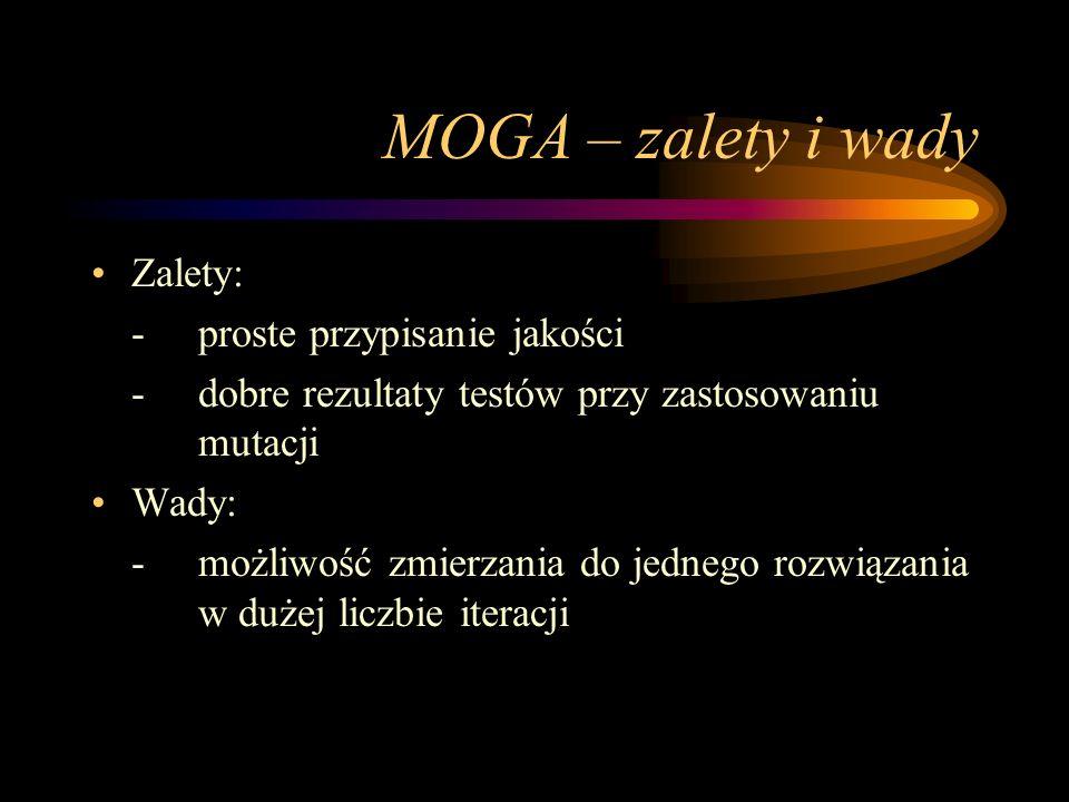 MOGA – zalety i wady Zalety: - proste przypisanie jakości