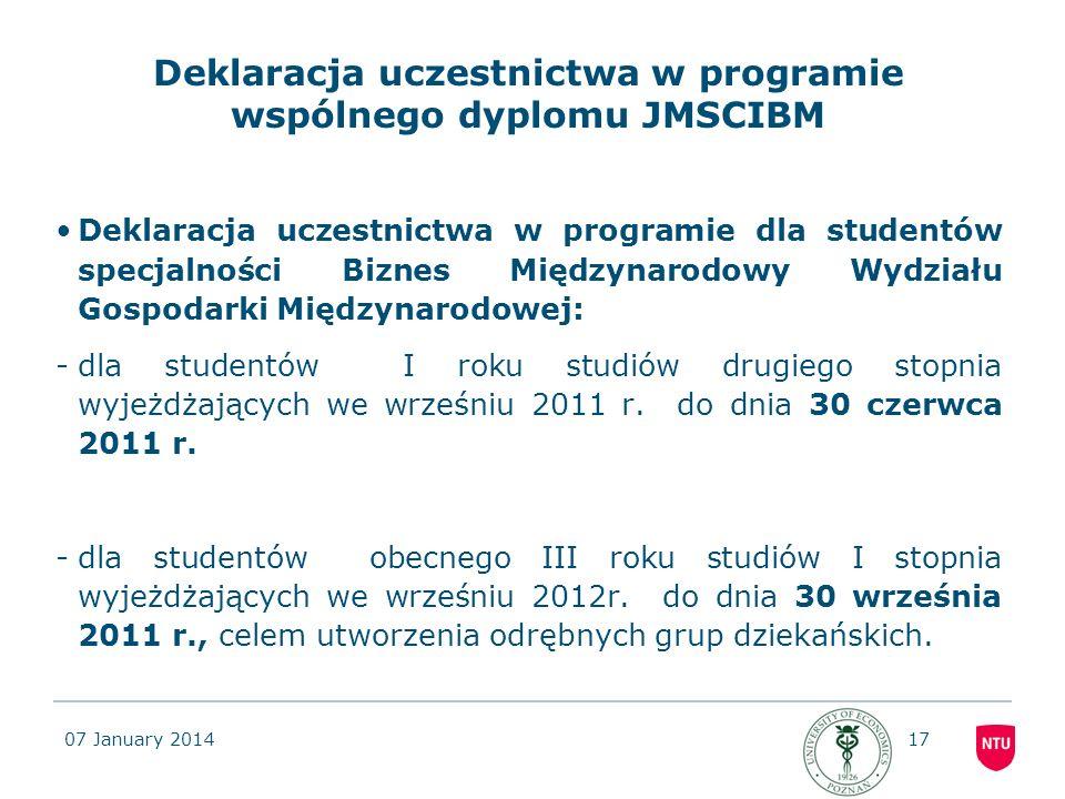 Deklaracja uczestnictwa w programie wspólnego dyplomu JMSCIBM