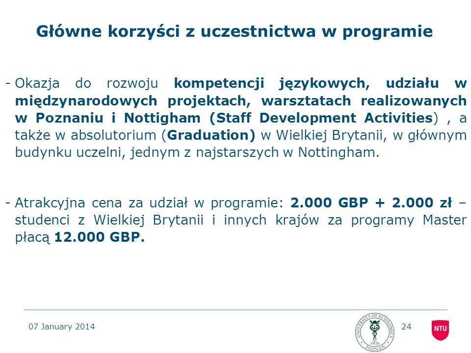Główne korzyści z uczestnictwa w programie