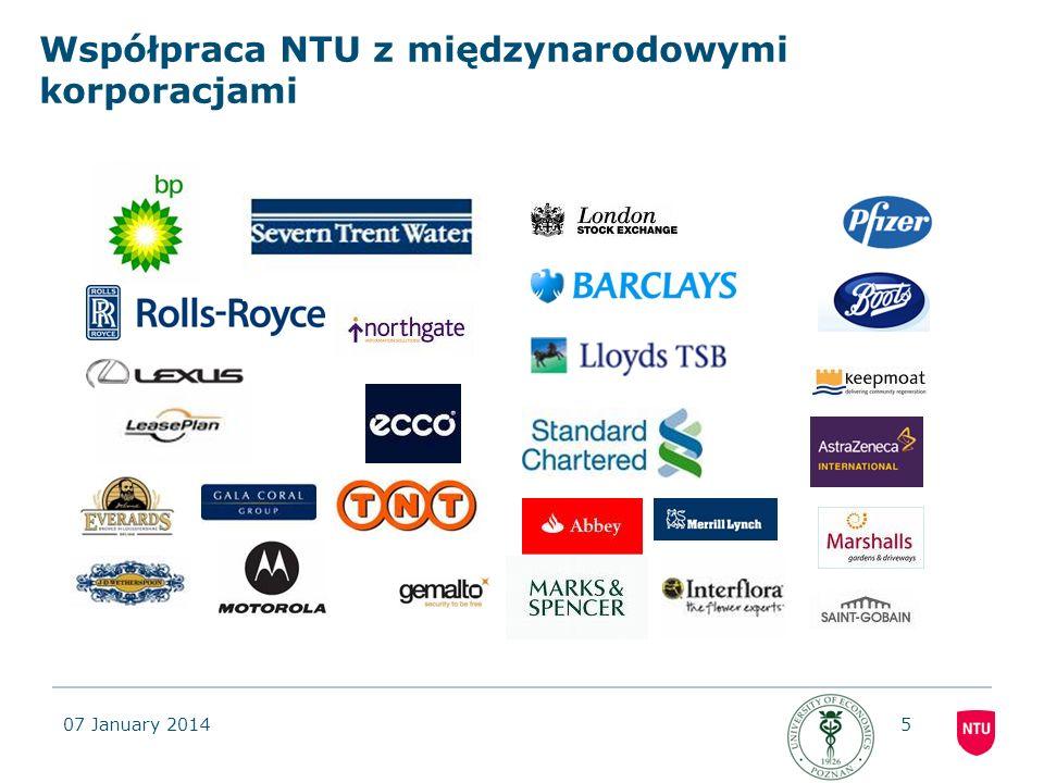 Współpraca NTU z międzynarodowymi korporacjami