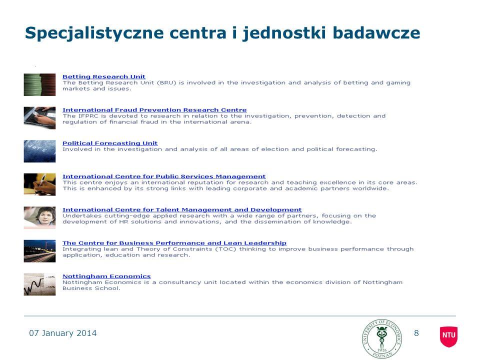 Specjalistyczne centra i jednostki badawcze