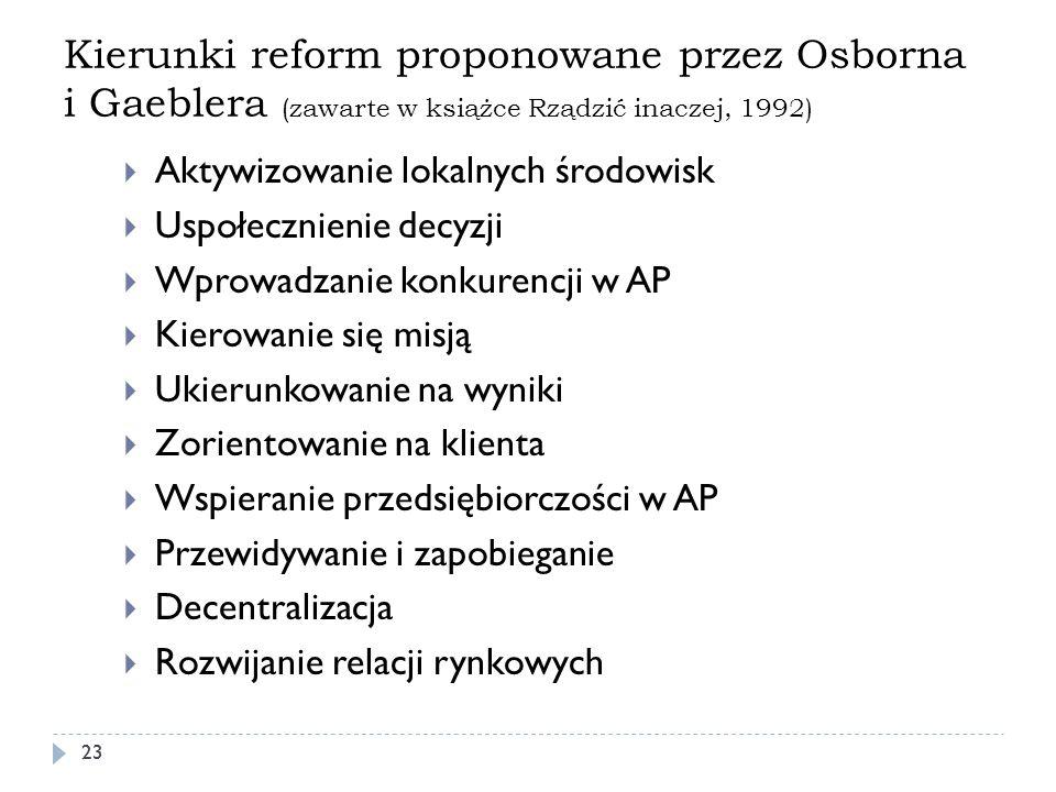 Kierunki reform proponowane przez Osborna i Gaeblera (zawarte w książce Rządzić inaczej, 1992)