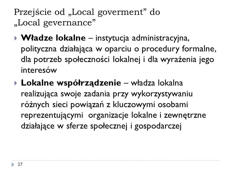 "Przejście od ""Local goverment do ""Local gevernance"