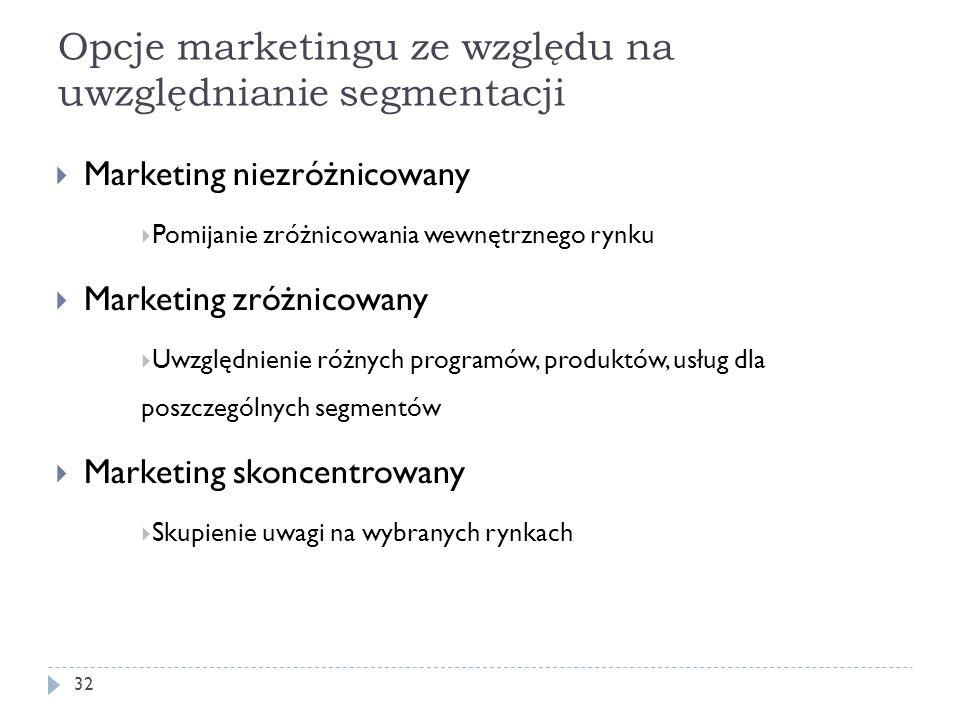 Opcje marketingu ze względu na uwzględnianie segmentacji