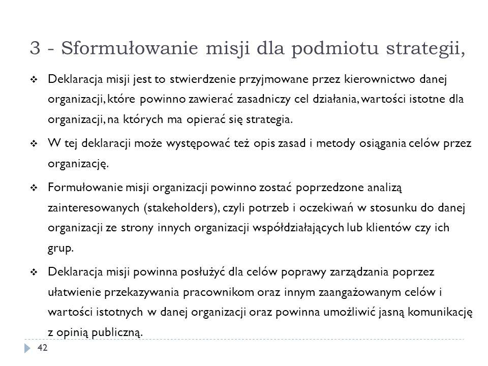 3 - Sformułowanie misji dla podmiotu strategii,