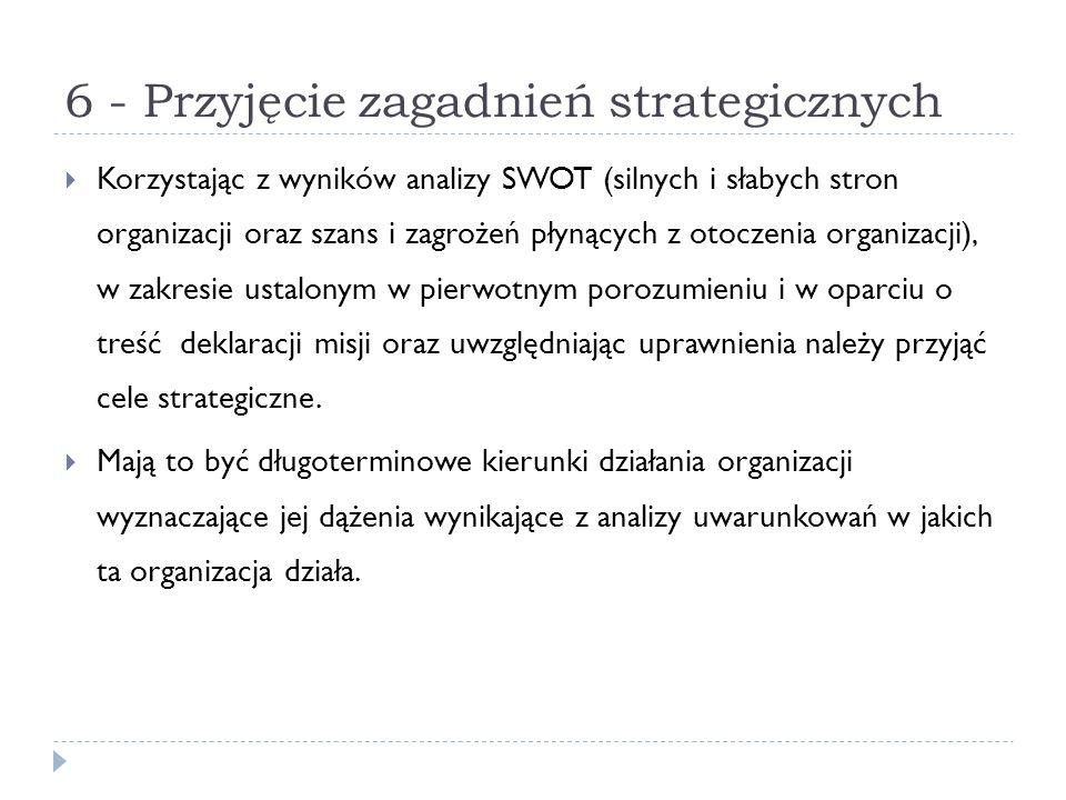 6 - Przyjęcie zagadnień strategicznych