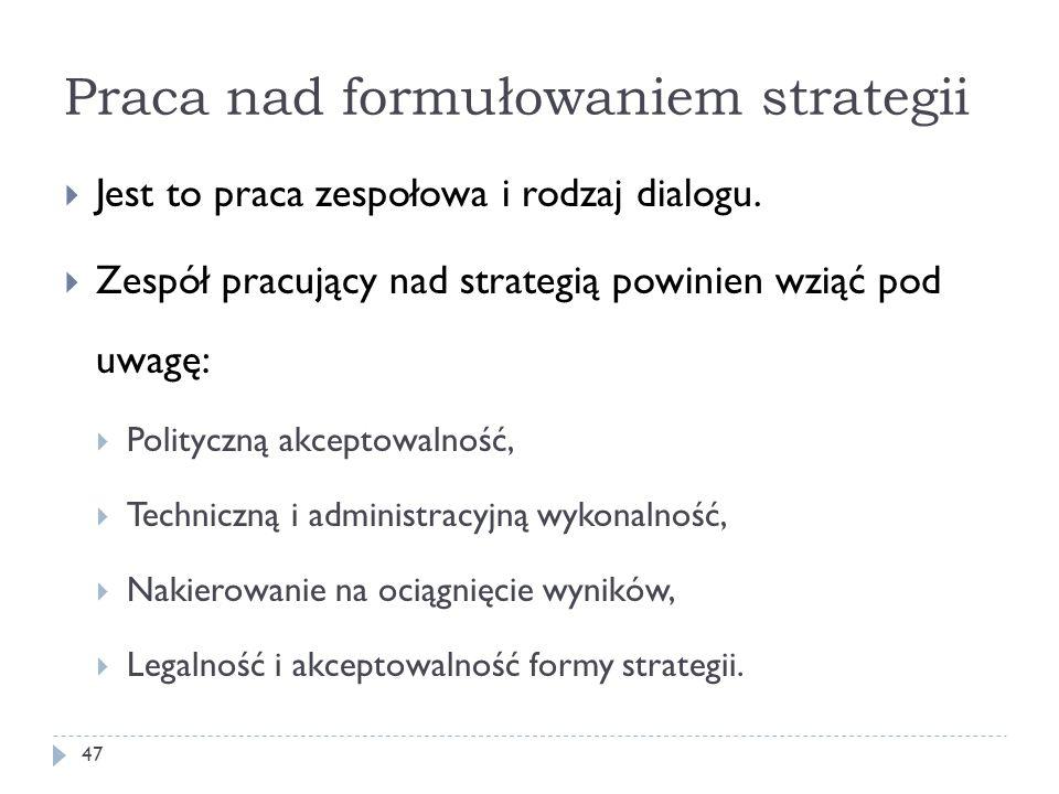 Praca nad formułowaniem strategii