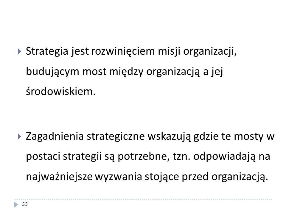 Strategia jest rozwinięciem misji organizacji, budującym most między organizacją a jej środowiskiem.
