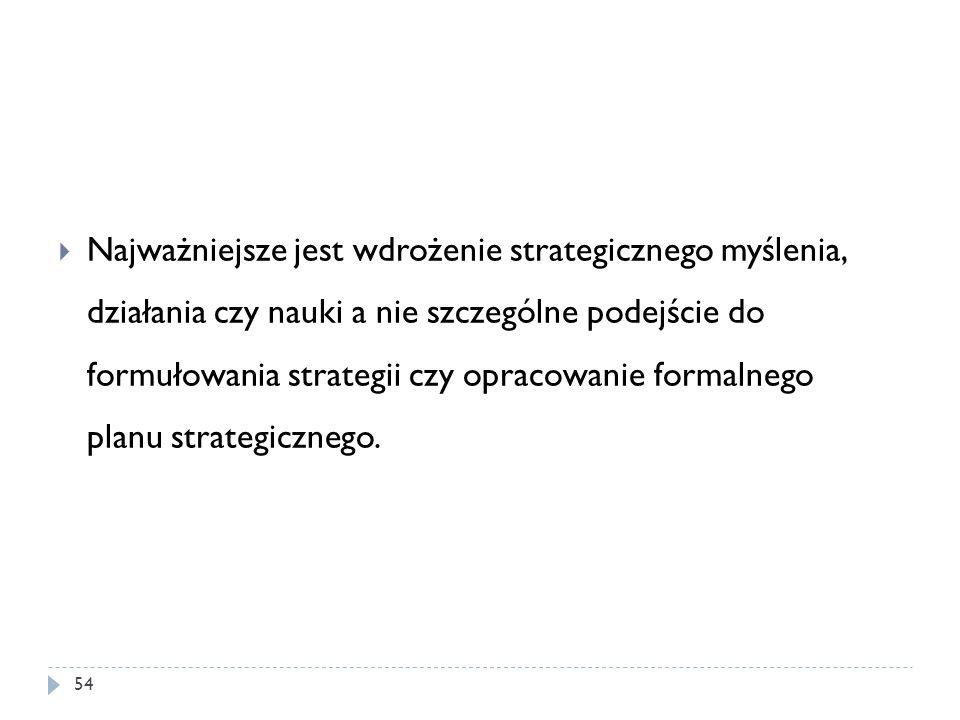 Najważniejsze jest wdrożenie strategicznego myślenia, działania czy nauki a nie szczególne podejście do formułowania strategii czy opracowanie formalnego planu strategicznego.