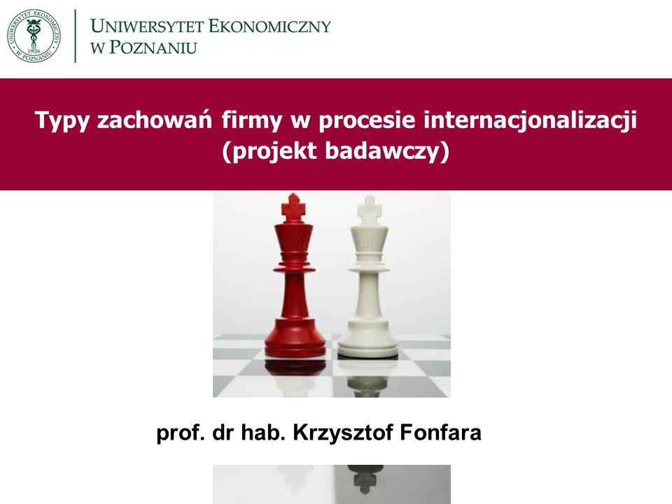 Typy zachowań firmy w procesie internacjonalizacji (projekt badawczy)