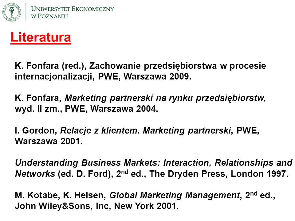 Literatura K. Fonfara (red.), Zachowanie przedsiębiorstwa w procesie internacjonalizacji, PWE, Warszawa 2009.