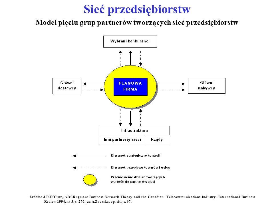 Model pięciu grup partnerów tworzących sieć przedsiębiorstw