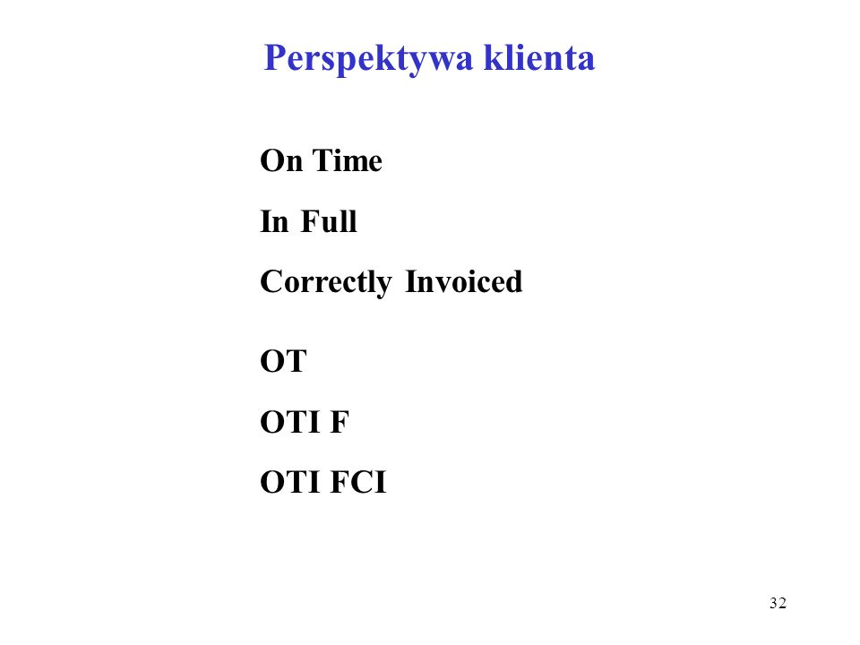 Perspektywa klienta On Time In Full Correctly Invoiced OT OTI F