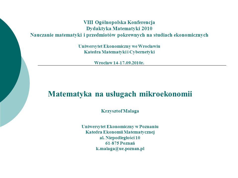 Matematyka na usługach mikroekonomii