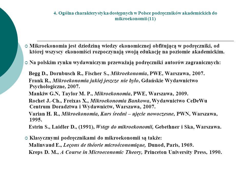 Begg D., Dornbusch R., Fischer S., Mikroekonomia, PWE, Warszawa, 2007.