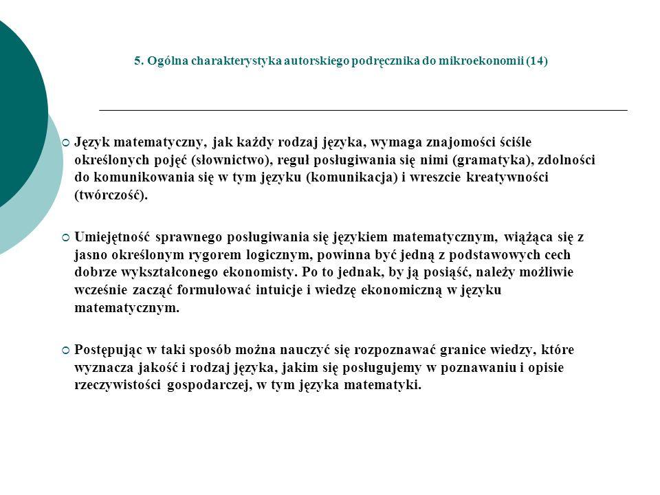 5. Ogólna charakterystyka autorskiego podręcznika do mikroekonomii (14)
