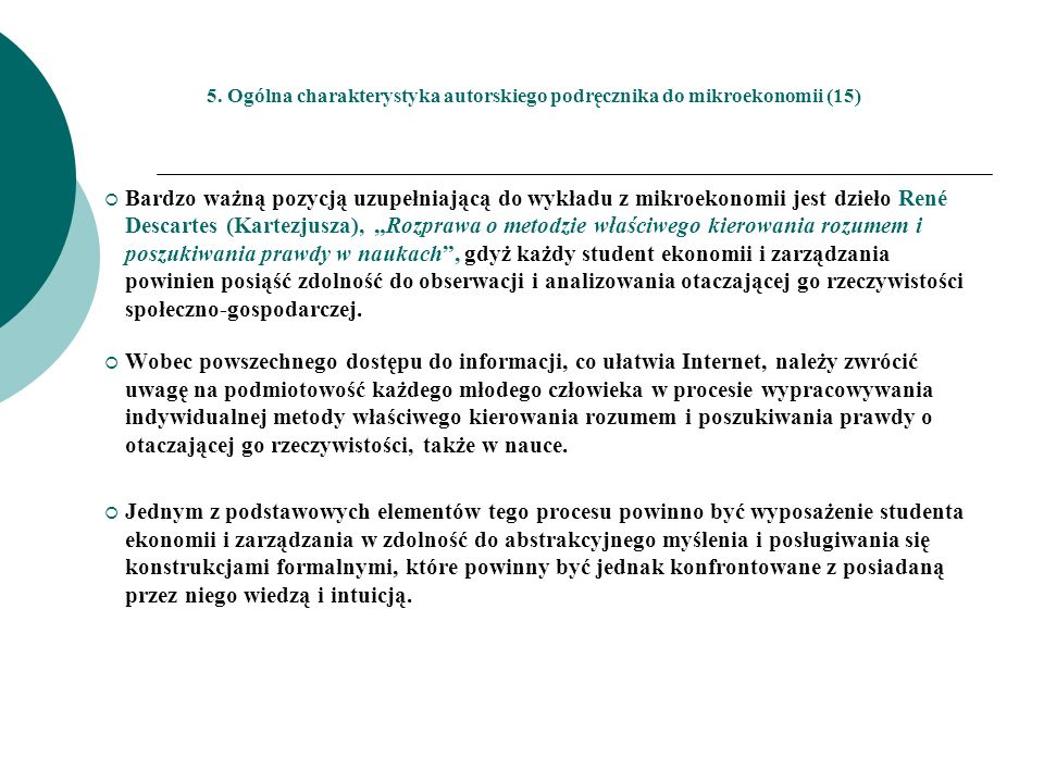 5. Ogólna charakterystyka autorskiego podręcznika do mikroekonomii (15)