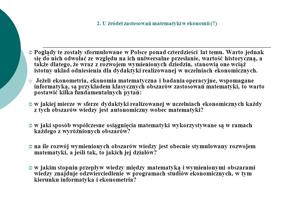2. U źródeł zastosowań matematyki w ekonomii (7)