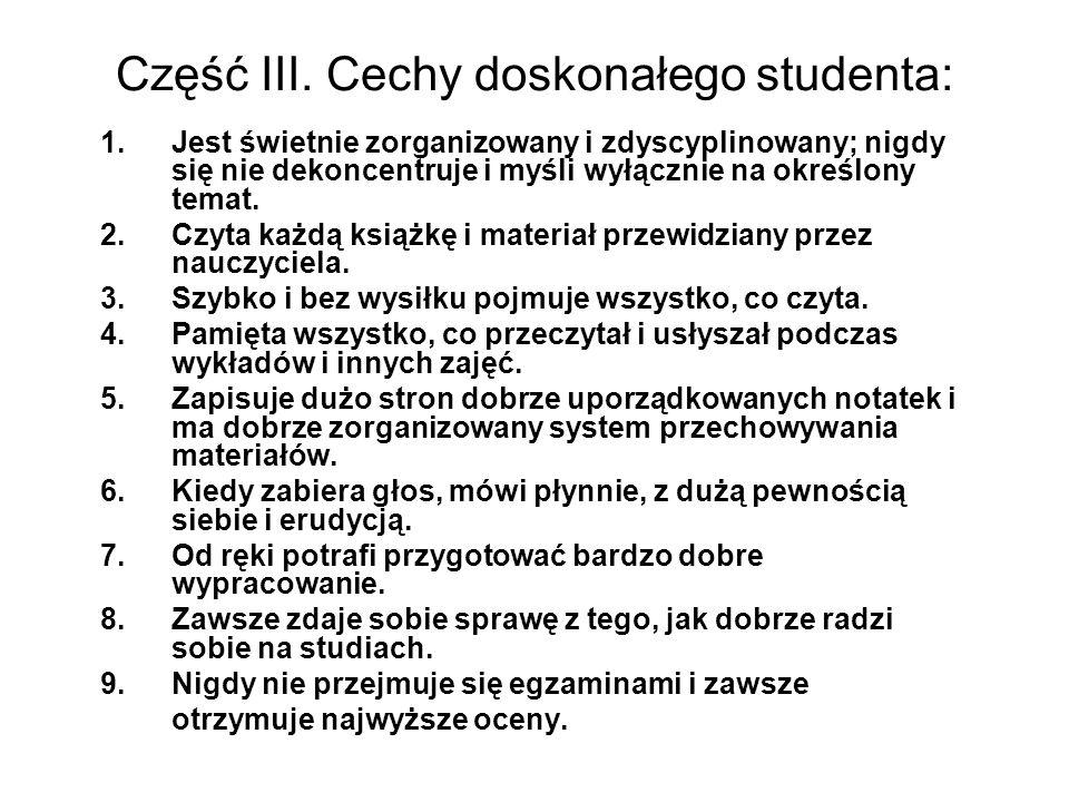 Część III. Cechy doskonałego studenta: