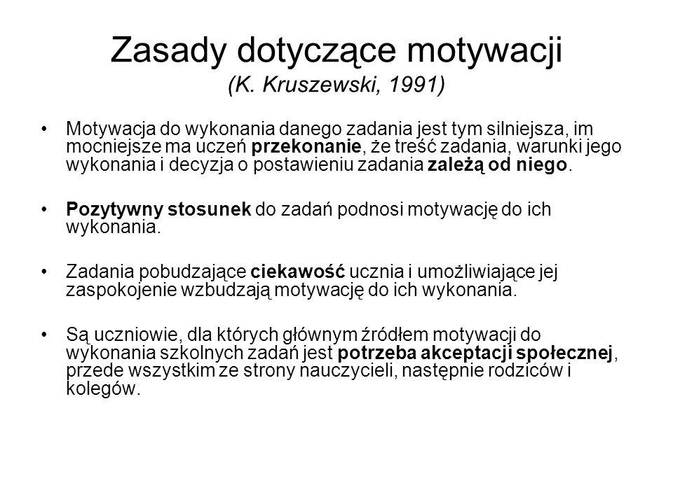 Zasady dotyczące motywacji (K. Kruszewski, 1991)