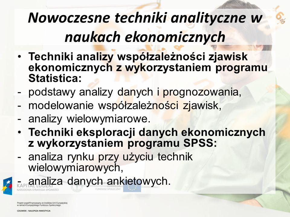 Nowoczesne techniki analityczne w naukach ekonomicznych