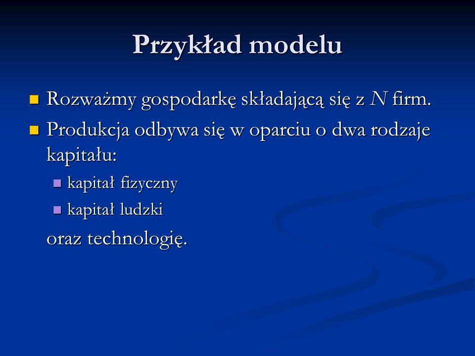 Przykład modelu Rozważmy gospodarkę składającą się z N firm.