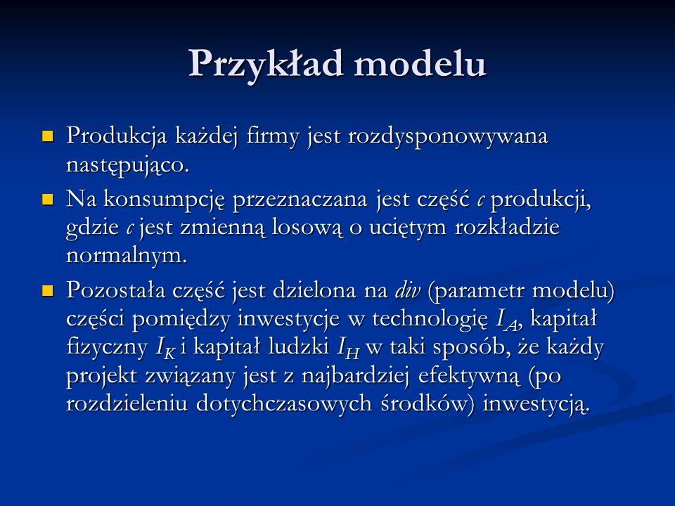Przykład modelu Produkcja każdej firmy jest rozdysponowywana następująco.