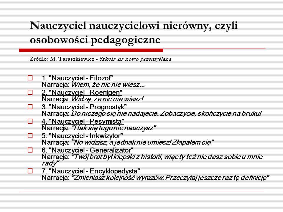 Nauczyciel nauczycielowi nierówny, czyli osobowości pedagogiczne Źródło: M. Taraszkiewicz - Szkoła na nowo przemyślana