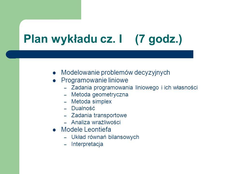 Plan wykładu cz. I (7 godz.)