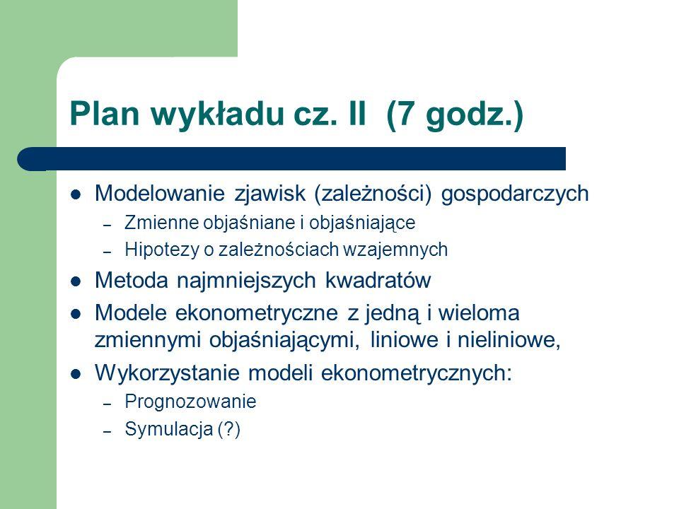 Plan wykładu cz. II (7 godz.)