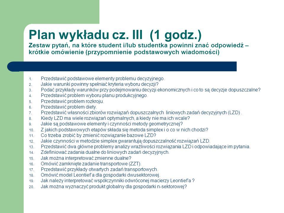 Plan wykładu cz. III (1 godz