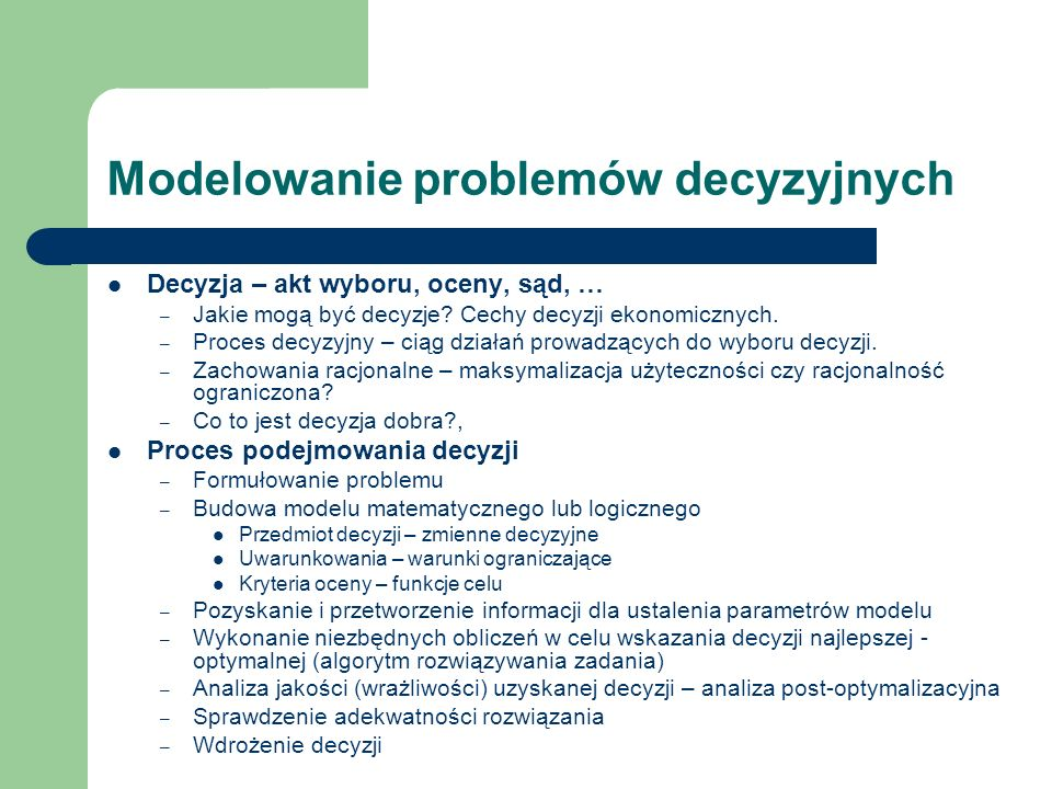 Modelowanie problemów decyzyjnych