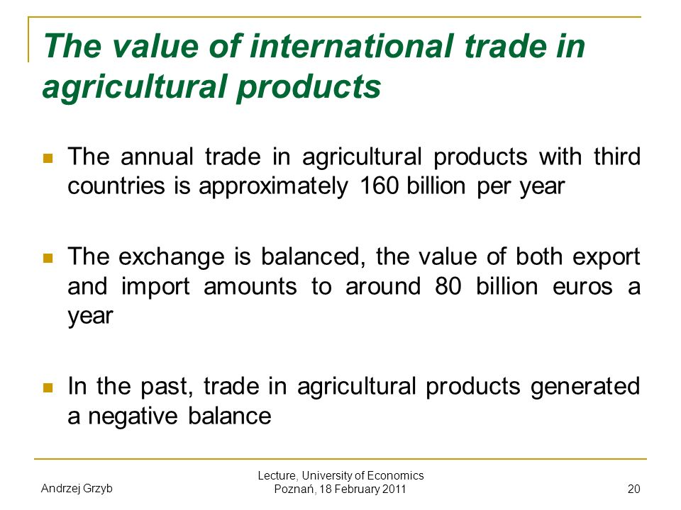 The value of international trade in agricultural products