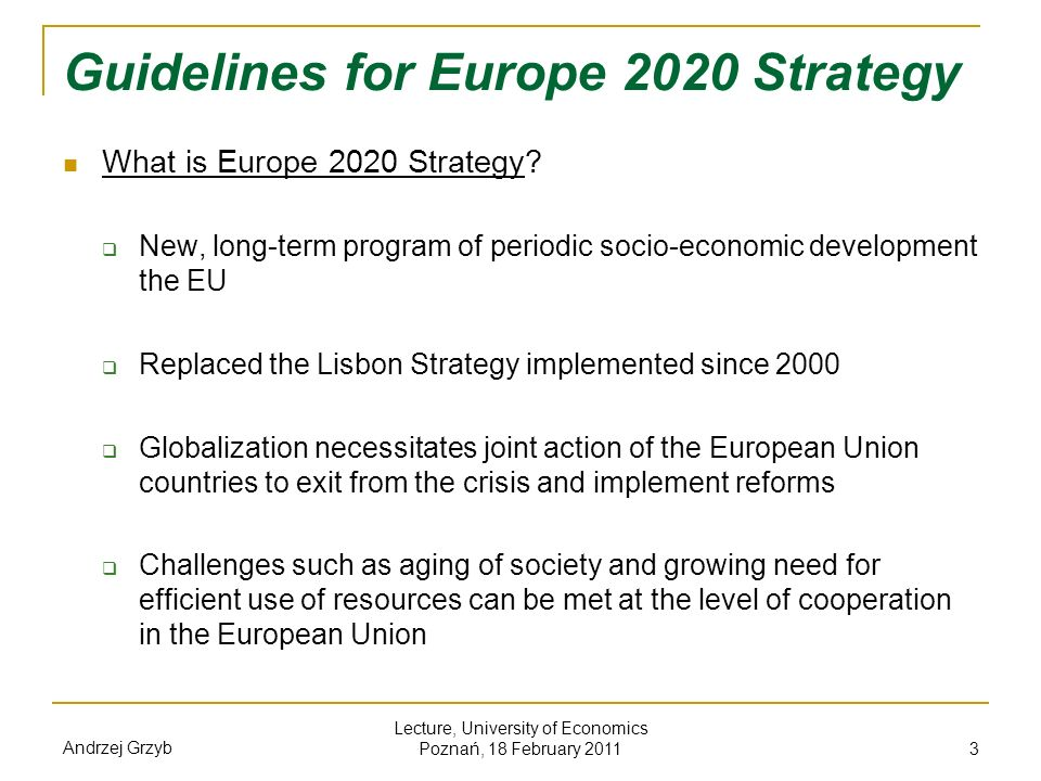 Guidelines for Europe 2020 Strategy