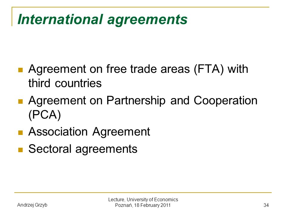 International agreements
