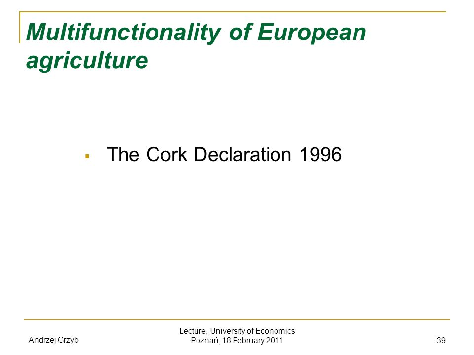 Multifunctionality of European agriculture