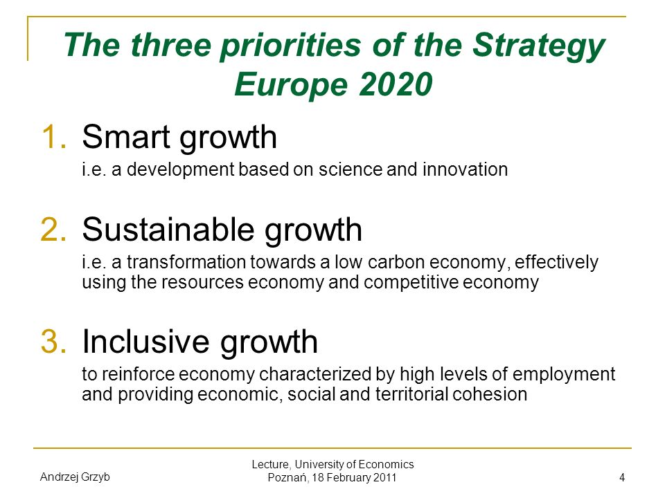 The three priorities of the Strategy Europe 2020
