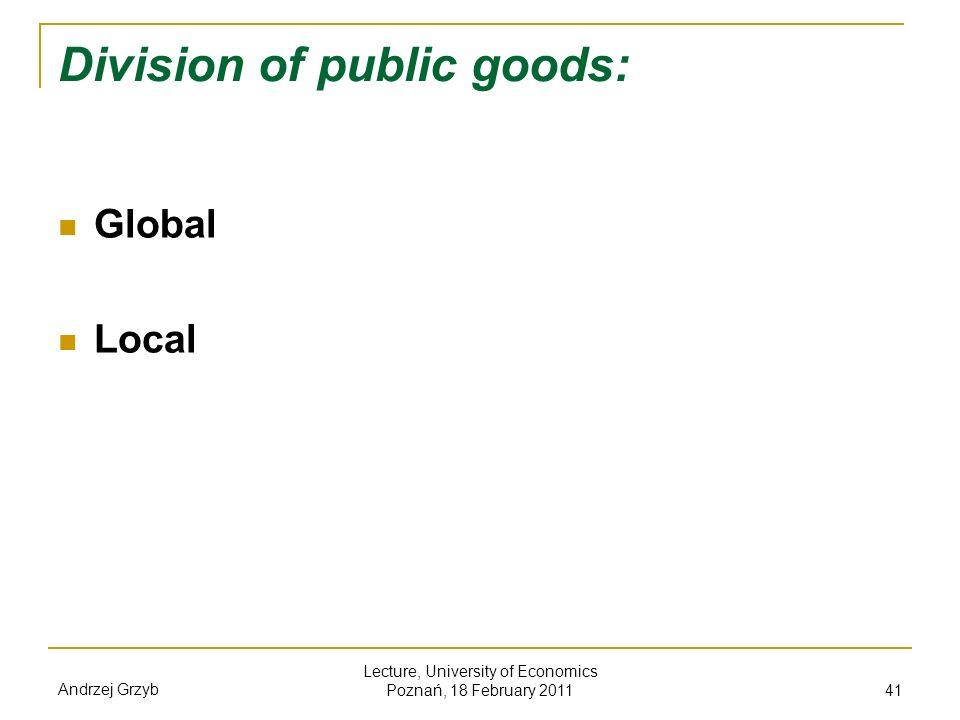 Division of public goods: