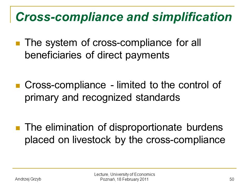 Cross-compliance and simplification